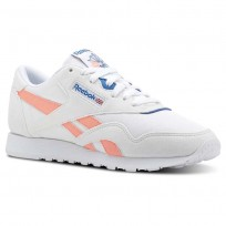 Reebok Classic Nylon Shoes Womens Retro-White/Digital Pink/Instince Blue (489WNYOD)