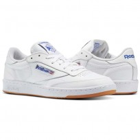 Reebok Club C 85 Shoes Mens Intense White/Royal-Gum (491EAIJP)