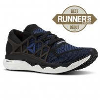 Reebok Floatride Run Running Shoes Mens Black/Bunker Blue/White (492CXJZF)