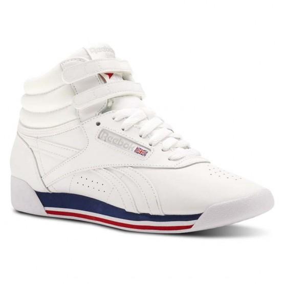 Reebok Freestyle HI Shoes Womens Retro-White/Bunker Blue/Primal Red/Skull Grey (502UJLTN)