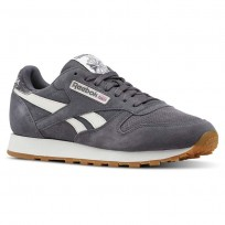 Reebok Classic Leather Shoes For Men Grey (508QTKIF)