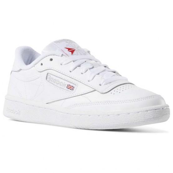 Reebok Club C 85 Shoes Womens White/Light Grey (532CZBFE)