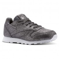 Reebok Classic Leather Shoes Girls Ms-Pewter/Ash Grey/White (538GDCOM)