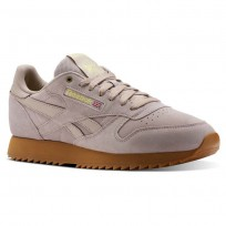 Reebok Classic Leather Shoes For Men Grey/Yellow (541BPYXG)