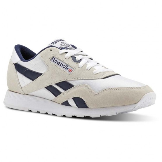 Reebok Classic Nylon Shoes Mens Archive-White/Collegiate Navy (548WAGUT)