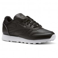Reebok Classic Leather Shoes Womens Black/Silver Metallic/White (549UWKJS)
