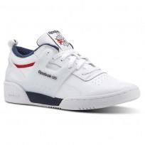 Reebok Workout Shoes Mens White/Collegiate Navy/Primal Red (557OEWBT)