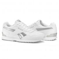 Reebok Royal Glide Shoes Womens White/White/Silver Metallic (561VQGEU)