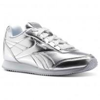 Reebok Royal Classic Jogger Shoes For Girls Silver Metallic/White (565EFHMJ)