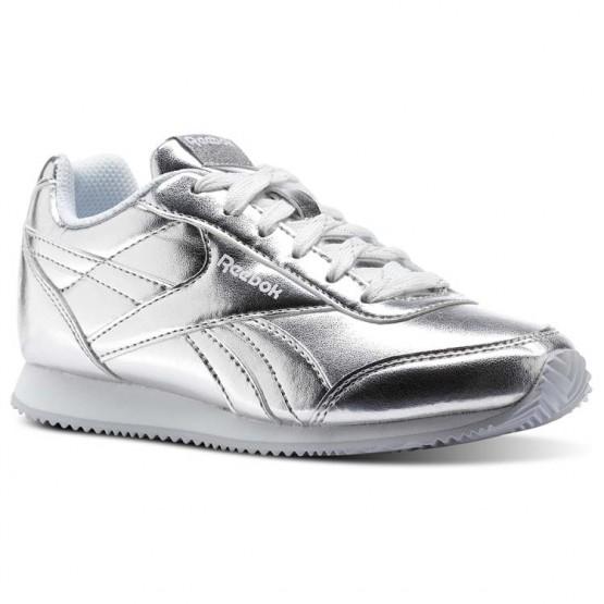 Reebok Royal Classic Jogger Shoes Girls Silver Metallic/White (565EFHMJ)