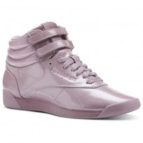 Reebok Freestyle HI Shoes Womens Patent-Infused Lilac (566OPBYL)