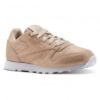 Reebok Classic Leather Shoes Girls Ms-Rose Gold/Bare Beige/White (574FIVUG)