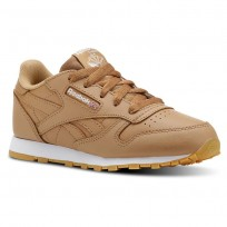 Reebok Classic Leather Shoes For Kids Brown/White (581OWQUR)
