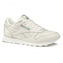 Reebok Classic Leather Shoes Womens Trend X-Chalk/Chalk Green (596LNSIZ)