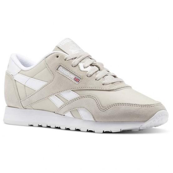 Reebok Classic Nylon Shoes Womens Beige/Sandstone/White (614KUFNM)