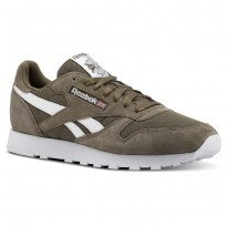 Reebok Classic Leather Shoes For Men Grey/White (617DICHE)
