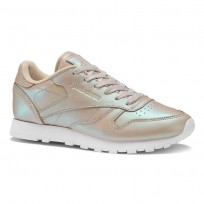 Reebok Classic Leather Shoes Womens Beige/Champagne/White (628KTUGN)