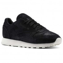 Reebok Classic Leather Shoes Womens Black/Chalk (628WXKBP)