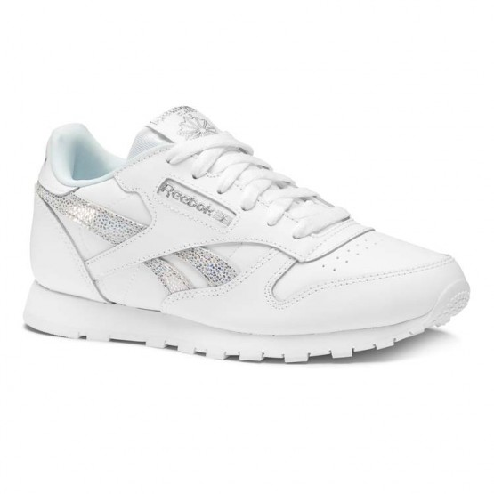 Reebok Classic Leather Shoes For Girls White/Blue (633CRTVU)