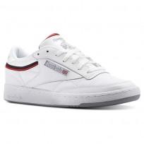 Reebok Club C 85 Shoes Mens Sptlt-White/Collegiate Navy/Excellent Red (641SLQWB)