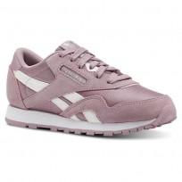 Reebok CL NYLON Shoes For Girls White/Silver (654TGVWB)