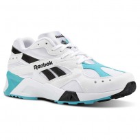 Reebok Aztrek Shoes Mens Og-White/Solid Teal/Black (661GNZAT)