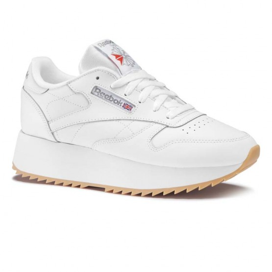 Reebok Classic Leather Shoes Womens White/Silver Met/Gum (670ZSFVN)