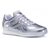 Reebok Royal Classic Jogger Shoes For Girls Metallic/Purple Grey/White (671XSBOC)