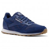 Reebok Classic Leather Shoes For Kids Wash Blue/White (672GQSHN)