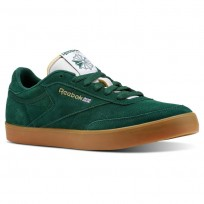 Reebok Club C Gum Shoes Mens Dark Green/White/Gold/Gum (672WGIND)