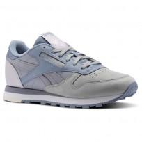 Reebok Classic Leather Shoes Womens Stark Grey/Shadow/Rain/Quartz (715XVCOH)