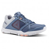 Reebok YourFlex Trainette Training Shoes Womens Blue Slate/Cloud Grey/Digital Pink/White (729RQVYC)