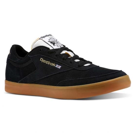 Reebok Club C Gum Shoes Mens Black/White/Gold/Gum (733JNTGE)