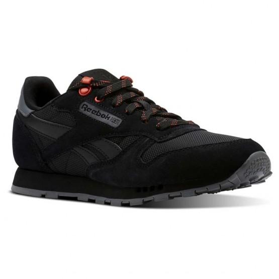 Reebok Classic Leather Shoes For Kids Black (739FOLJV)