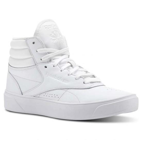 Reebok Freestyle HI Shoes Womens Mid-White/Ultra Purple (747JMGWI)