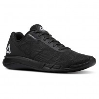 Reebok Faster Flexweave Running Shoes Mens Black/Stark Grey (750FYHQP)