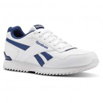 Reebok Royal Glide Shoes Kids White/Bunker Blue (751LKDTN)