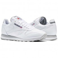 Reebok Classic Leather Shoes For Men White/Light Grey (769HQOPB)