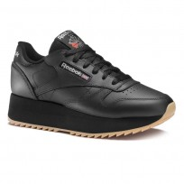 Reebok Classic Leather Shoes Womens Black/Silver Met/Gum (775HAGEC)