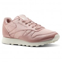 Reebok Classic Leather Shoes Womens Chalk Pink/Classic White (783CEQMK)