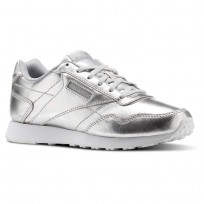 Reebok Royal Shoes Womens Silver Metallic/White (807JGNSD)