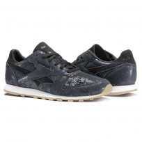 Reebok Classic Leather Shoes Womens Black/Chalk/Gum (813QGWBI)