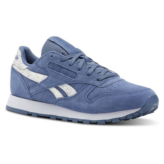 Reebok Classic Leather Shoes For Women Blue Stripes (818SXVPZ)