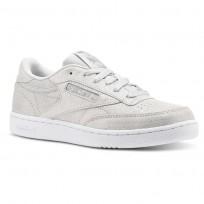 Reebok Club C Shoes For Girls Silver/Grey/White (827KVGQR)