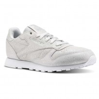 Reebok Classic Leather Shoes Girls Ms-Silver Met/Skull Grey/White (835EOZHS)