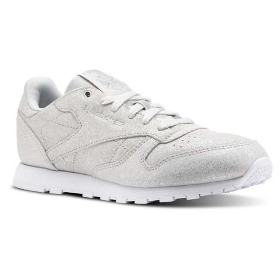 Reebok Classic Leather Shoes For Girls Silver/Grey/White (835EOZHS)