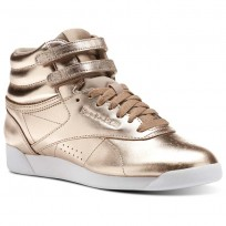 Reebok Freestyle HI Shoes Womens Rose Gold/White/Silver Peony (836JNWQY)