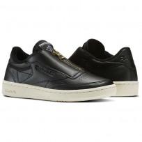 Reebok Club C 85 Shoes Womens Black/Sleek Met/Paper White/Coal (843CLYRB)