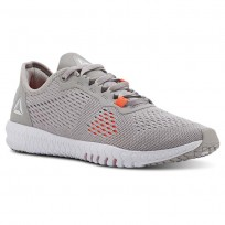 Reebok Flexagon Training Shoes Womens Whisper Grey/Atomic Red/Spirit White (852ZVYMH)