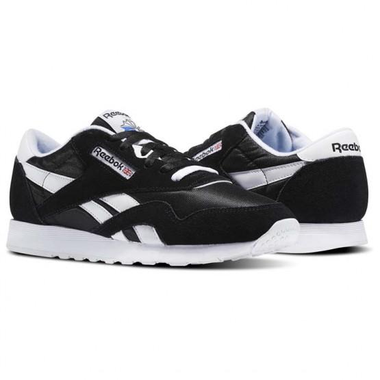 Reebok Classic Nylon Shoes Mens Black/White (877QBGYX)